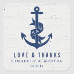 Rustic Anchor Wedding Favour Stickers / Navy