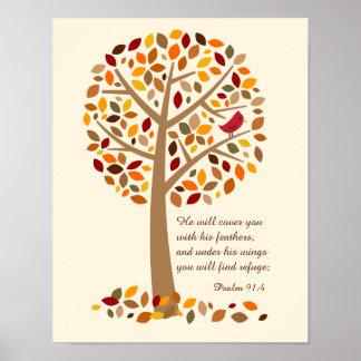 Rustic Autumn Tree Psalm 91 Christian Bible Verse Poster
