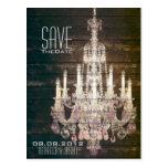 Rustic Barn Wood Chandelier wedding save the date Postcard