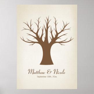 Rustic Brown Fingerprint Tree Wedding Poster