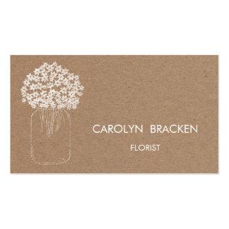 Rustic Brown Kraft Paper Mason Jar Flowers Pack Of Standard Business Cards