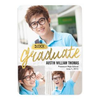 Rustic Brush Graduation Announcement Invitation