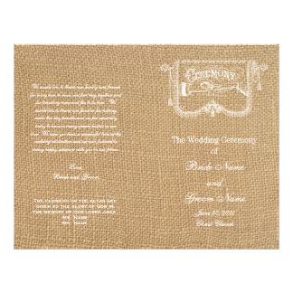 Rustic Burlap Wedding Program Vintage 21.5 Cm X 28 Cm Flyer