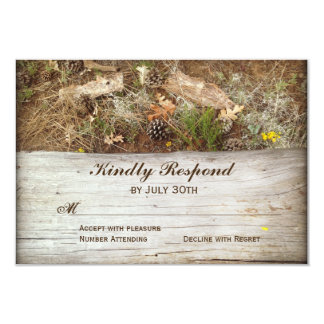 Rustic Camo and Wood Country Wedding RSVP Cards 9 Cm X 13 Cm Invitation Card