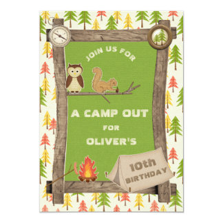 Rustic Camp Out Birthday Party 13 Cm X 18 Cm Invitation Card