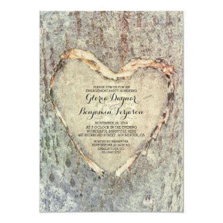 rustic carved heart tree vintage engagement party 13 cm x 18 cm invitation card