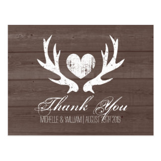 Rustic country deer antler wedding thank you cards postcard