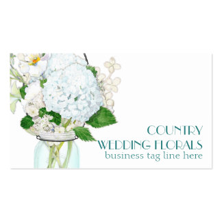 Rustic Country Mason Jar Flowers White Hydrangeas Pack Of Standard Business Cards