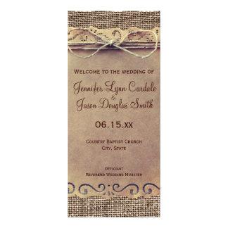 Rustic Country Vintage Burlap Wedding Program Personalized Rack Card