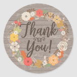 Rustic Fall Flowers Thank You Round Sticker