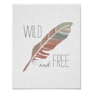 Rustic Feather | Wild and Free Nursery Wall Art Poster