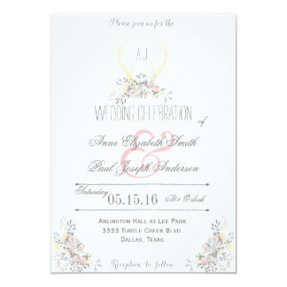 Rustic Floral Antlers wedding invitation