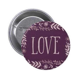 Rustic Floral Love | Purple | 6 Cm Round Badge