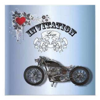 Rustic grunge Motorcyle Biker Wedding 13 Cm X 13 Cm Square Invitation Card