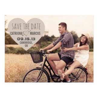 Rustic Heart Vintage Photo Save the Date Postcard
