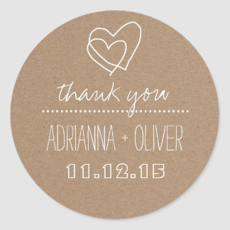 Rustic Kraft Paper| Heart Wedding Thank You Round Sticker