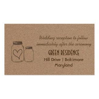 Rustic Kraft Paper Mason Jar Heart Wedding Insert Pack Of Standard Business Cards