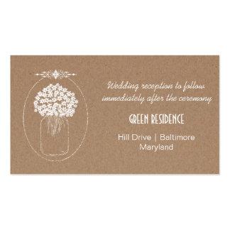 Rustic Kraft Paper MasonJar Flowers Wedding Insert Pack Of Standard Business Cards