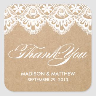 RUSTIC LACE | WEDDING FAVOR LABELS SQUARE STICKER