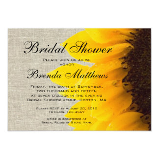 Rustic Linen Sunflower Bridal Shower Invitation