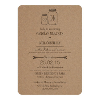 Rustic Masonjar Monogram Heart Rehearsal Dinner 13 Cm X 18 Cm Invitation Card