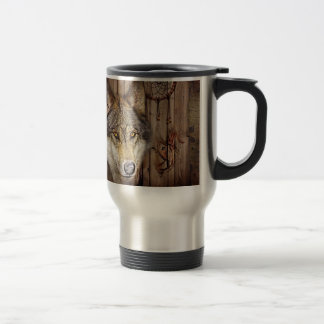 rustic native indian dream catcher wild wolf stainless steel travel mug