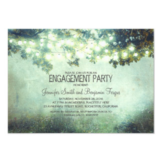 rustic nature tree branch lights engagement party 13 cm x 18 cm invitation card