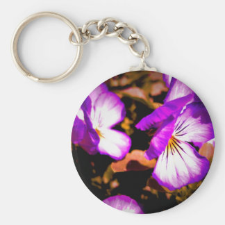 Rustic Purple and White Pansy Basic Round Button Key Ring
