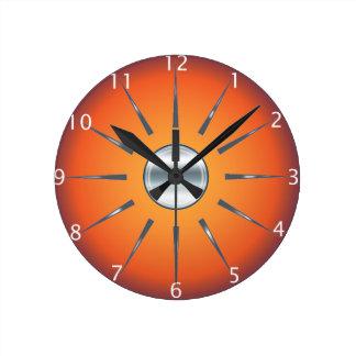 Rustic Red Orange Wall Clock