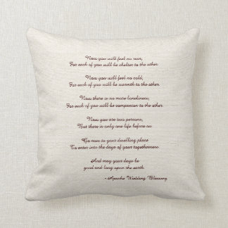 Rustic Square Pillow Apache Blessing Wedding Gift Cushions