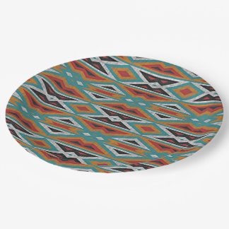 Rustic Tribe Mosaic Native American Indian Pattern 9 Inch Paper Plate