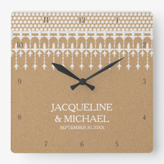 Rustic Vintage Lace Kraft Paper Script Typography Wall Clocks
