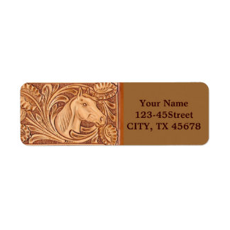 Rustic western country pattern tooled leather return address label