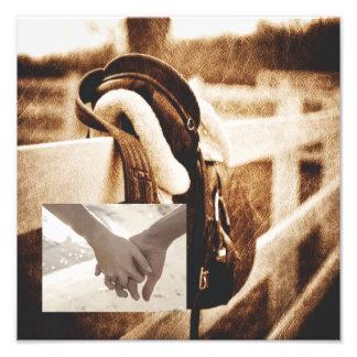 Rustic western cowboy horse saddle wedding photographic print