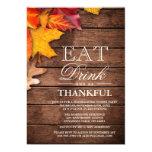 Rustic Wood Autumn Maple Thanksgiving Dinner Party 13 Cm X 18 Cm Invitation Card