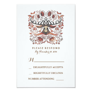 Rustic Woodland Deer Antlers Wedding RSVP Card 9 Cm X 13 Cm Invitation Card