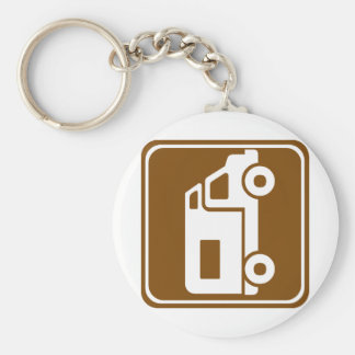RV Campground Highway Sign Basic Round Button Key Ring