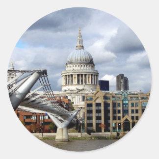 S Paul's Cathedral-Millennium Bridge-London Round Sticker