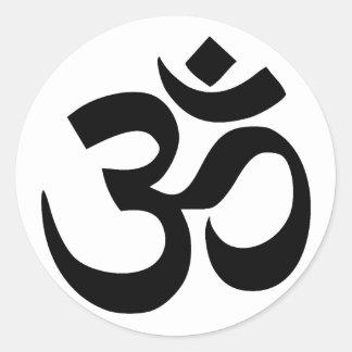 sacred om symbol in Sanskrit Round Sticker