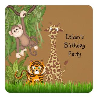 Safari Birthday Party 13 Cm X 13 Cm Square Invitation Card