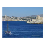 Sailboat cruising by Chateau d'If in Marseille's Postcard