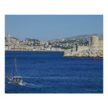 Sailboat cruising by Chateau d'If in Marseille's Poster