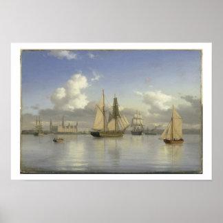 Sailing Vessels off Kronborg Castle, Sweden, 1880 Poster