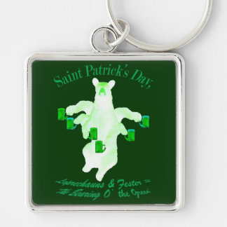 Saint Patrick's Day Leprechauns and Fester Equals Silver-Colored Square Key Ring