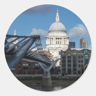 Saint Paul's Cathedral and Millennium Bridge Round Sticker