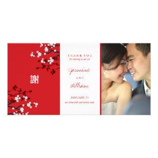Sakura Cherry Blossoms Chinese Wedding Thank You Custom Photo Card