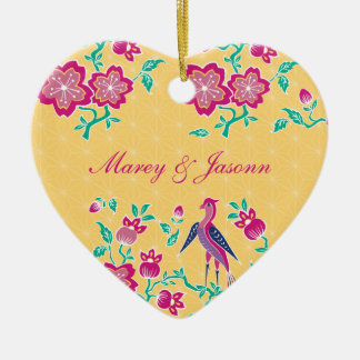 Sakura Floral Batik Wedding Heart Ornament