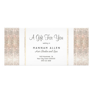 Salon and Spa Silver Sequins Gift Certificate Custom Rack Card