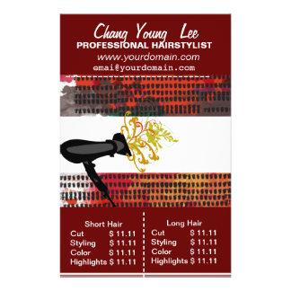 Salon Hairstylist  Hair Stylist Price List 14 Cm X 21.5 Cm Flyer