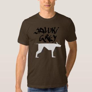 Saluki grey logo and graffitti font black and whit shirts